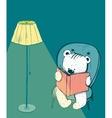 Cartoon Baby Bear Reading a Book vector image vector image