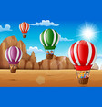 cartoon happy kids riding hot air balloon in the d vector image