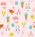 children easter pattern with cute cartoon vector image vector image