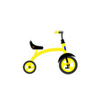 childrens tricycle yellow on a white background vector image vector image