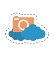 cloud photo camera media social cut line vector image