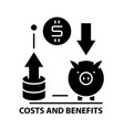 costs and benefits icon black sign