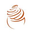 cupcake line art whip cream symbol design vector image