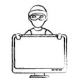 cyber thief avatar character with monitor vector image