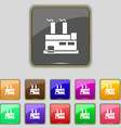 factory icon sign Set with eleven colored buttons vector image