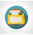 Flat color icon for yellow toaster vector image