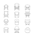 Flat line armchair isolated icons set vector image vector image