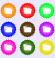 Folder icon sign A set of nine different colored vector image