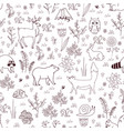 forest seamless pattern with cute bear fox vector image vector image