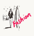 girl walks past shop window drawn sketch vector image
