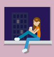 girl with the cup of tea at the evening after vector image