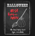 halloween holiday chalk poster for night party vector image