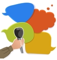 Hand with microphone on speech bubbles vector image vector image