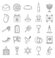hanukkah holiday icon set outline style vector image vector image