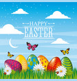 happy easter card bright eggs butterfly field sky vector image vector image