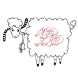happy new year design card with goat or sheep vector image vector image