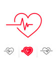 heartbeat or heart beat pulse outline icon vector image vector image