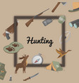 hunting poster with hunter ammunition icons vector image vector image