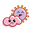 kawaii sun and cloud with cheeks and eyes vector image