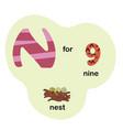 letter n for children alphabet vector image