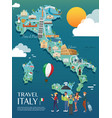 map of italy attractions and vector image