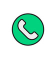 phone handset call center telephone flat color vector image