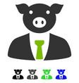 pig boss flat icon vector image