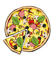 pizza pepperoni with slice vector image
