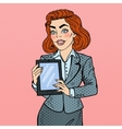 Pop Art Business Woman Holding Digital Tablet vector image vector image