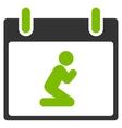 Pray Person Calendar Day Flat Icon vector image vector image