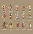 roman gladiators isometric set vector image