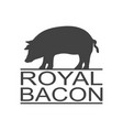 royal bacon vintage icon pork label logo print vector image