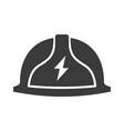 safety helmet with lightning sign bold black vector image