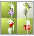 set of colorful cards with girls vector image vector image