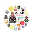 set road symbols and driver arab businesswomen vector image vector image