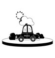 silhouette police car service with cloud and sun vector image vector image