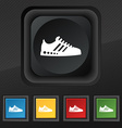 Sneakers icon symbol Set of five colorful stylish vector image vector image