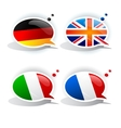 speech bubbles with symbols national flags vector image vector image
