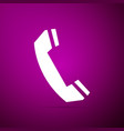 telephone handset icon on purple background vector image vector image