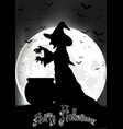 the witch cooks on the full moon vector image vector image