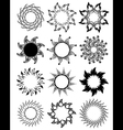 set of stylized graphic sun symbols vector image