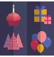 Happy birthday flat style set Cupcake with a vector image