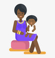 afro-american woman holds child on knees vector image