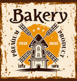bakery banner with windmill and rust effect vector image vector image