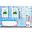 Bathroom with bathtub and toilet vector image