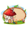 blank wooden board in the garden with mushroom vector image