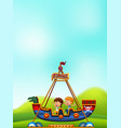 boy and girl playing pirate boat vector image