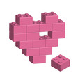 building bricks in 3d missing part of heart vector image