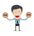 cartoon businessman show ok sign vector image vector image