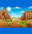 cartoon happy dinosaurs living in the desert vector image